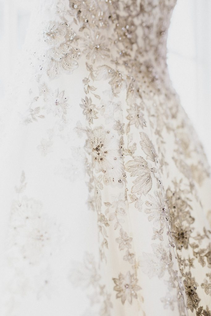 Lace wedding gown details