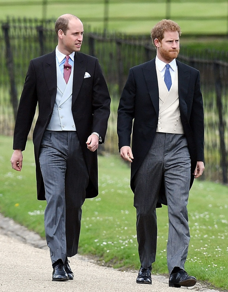 HRH Prince William & HRH Prince Harry wearing Morning Suits to a wedding