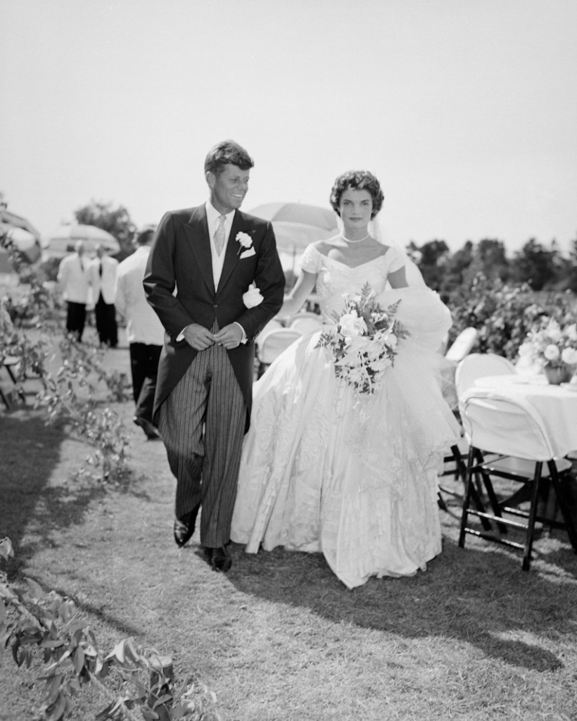 JFK and Jackie Onassis on their wedding day