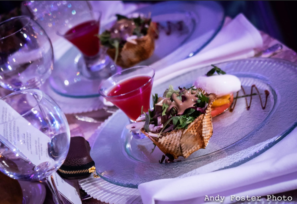 A wedding table with delicious food on plates
