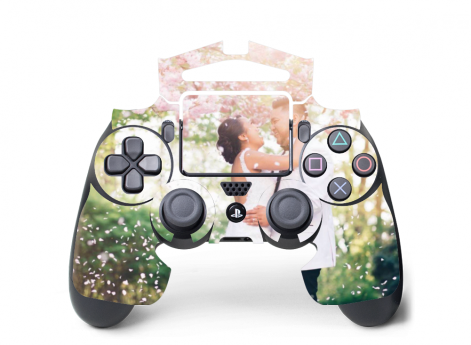 Personalized PlayStation controller with bride and groom skin