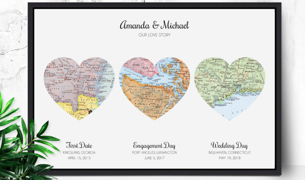 Maps of the locations of the married couple's first date, engagement day and wedding day
