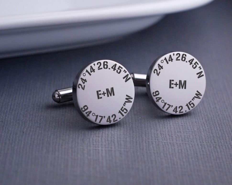 Pair of cufflinks with the bride and groom's initials