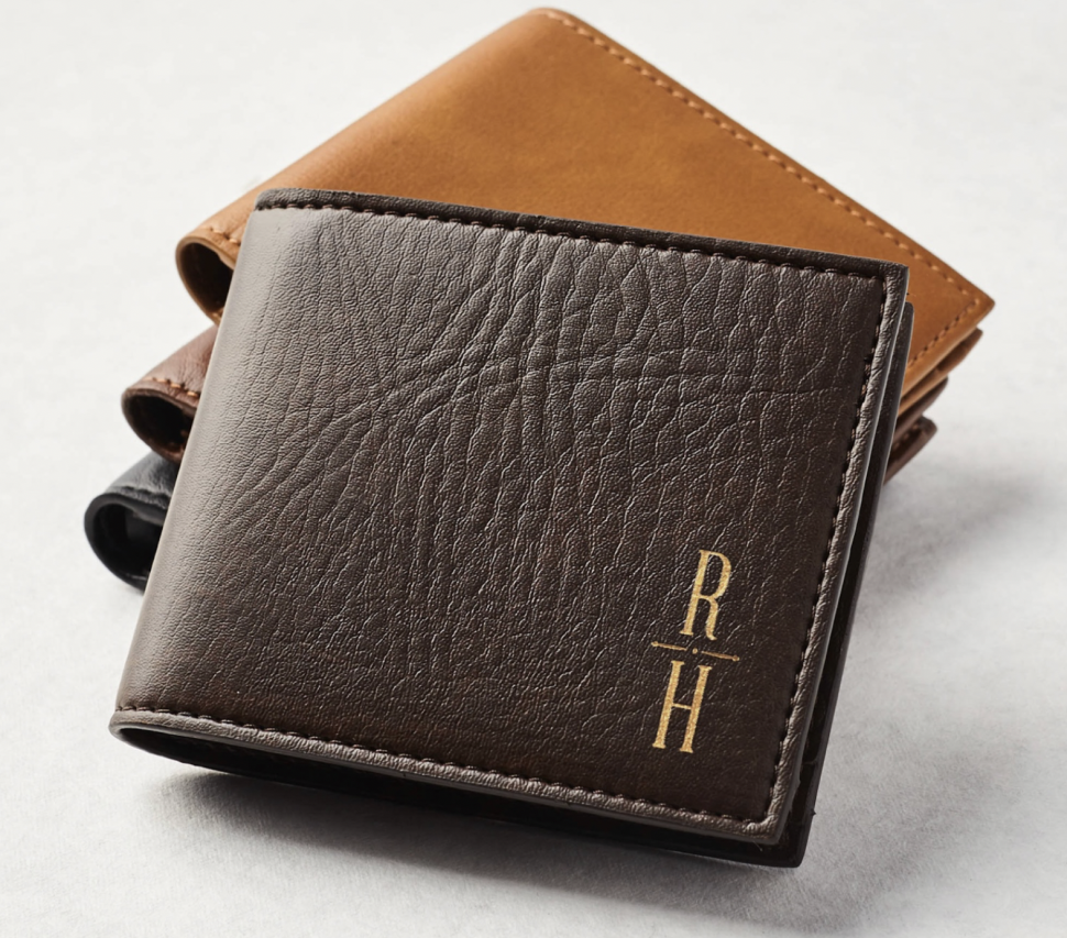 Leather wallet with bride + groom's initials
