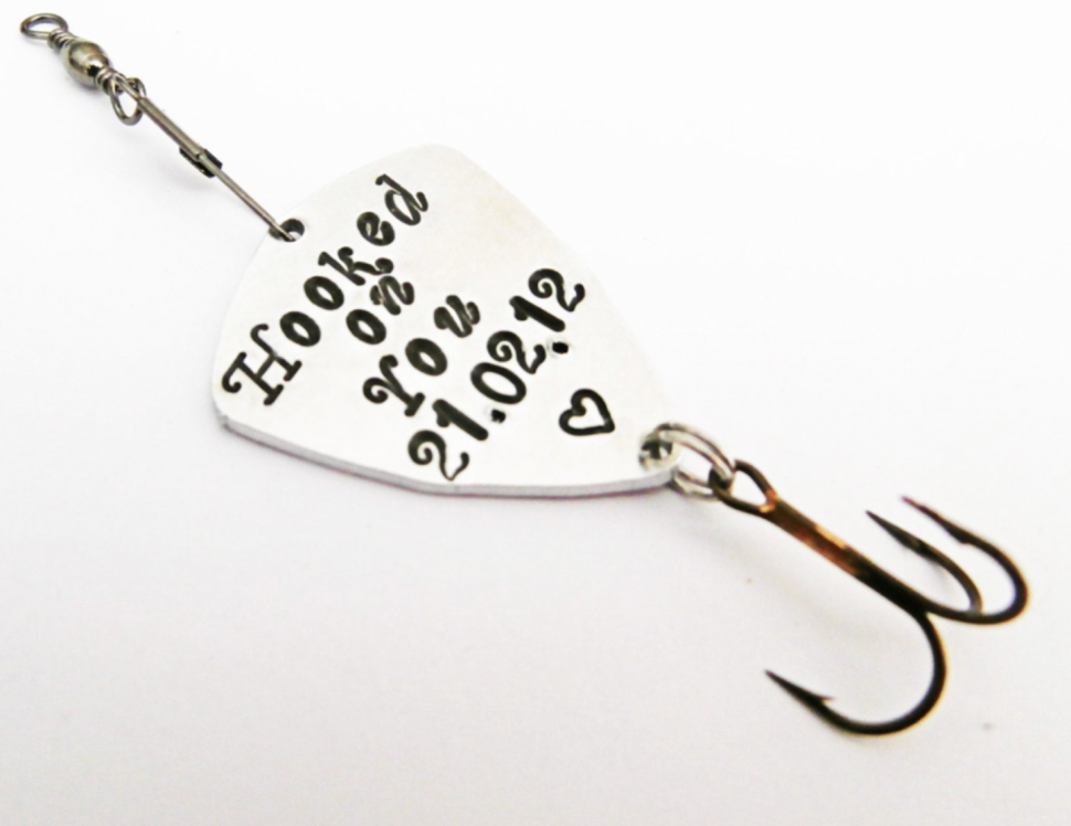 Fishing lure with a personal message from the bride to the groom
