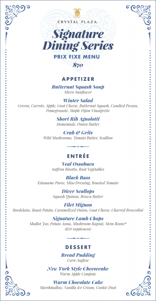 Menu from the dinner at The Crystal Plaza wedding venue on Friday December 18th