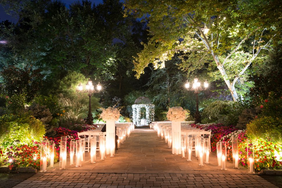 An outdoor wedding setup in Livingston, New Jersey