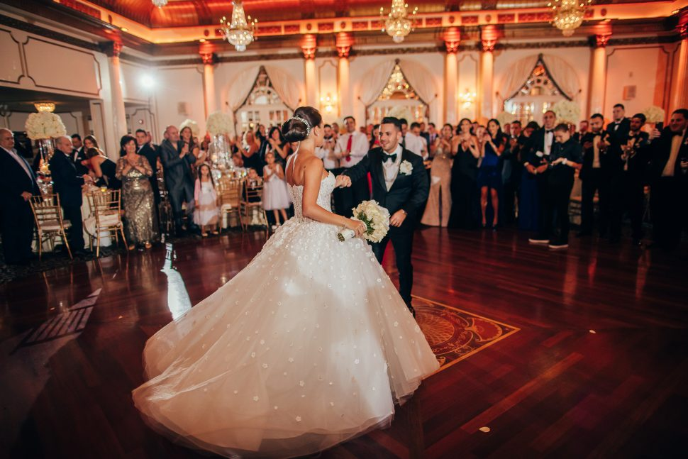 A newly wed couple dancing in the grand ballroom at The Crystal Plaza located in Livingston, New Jersey