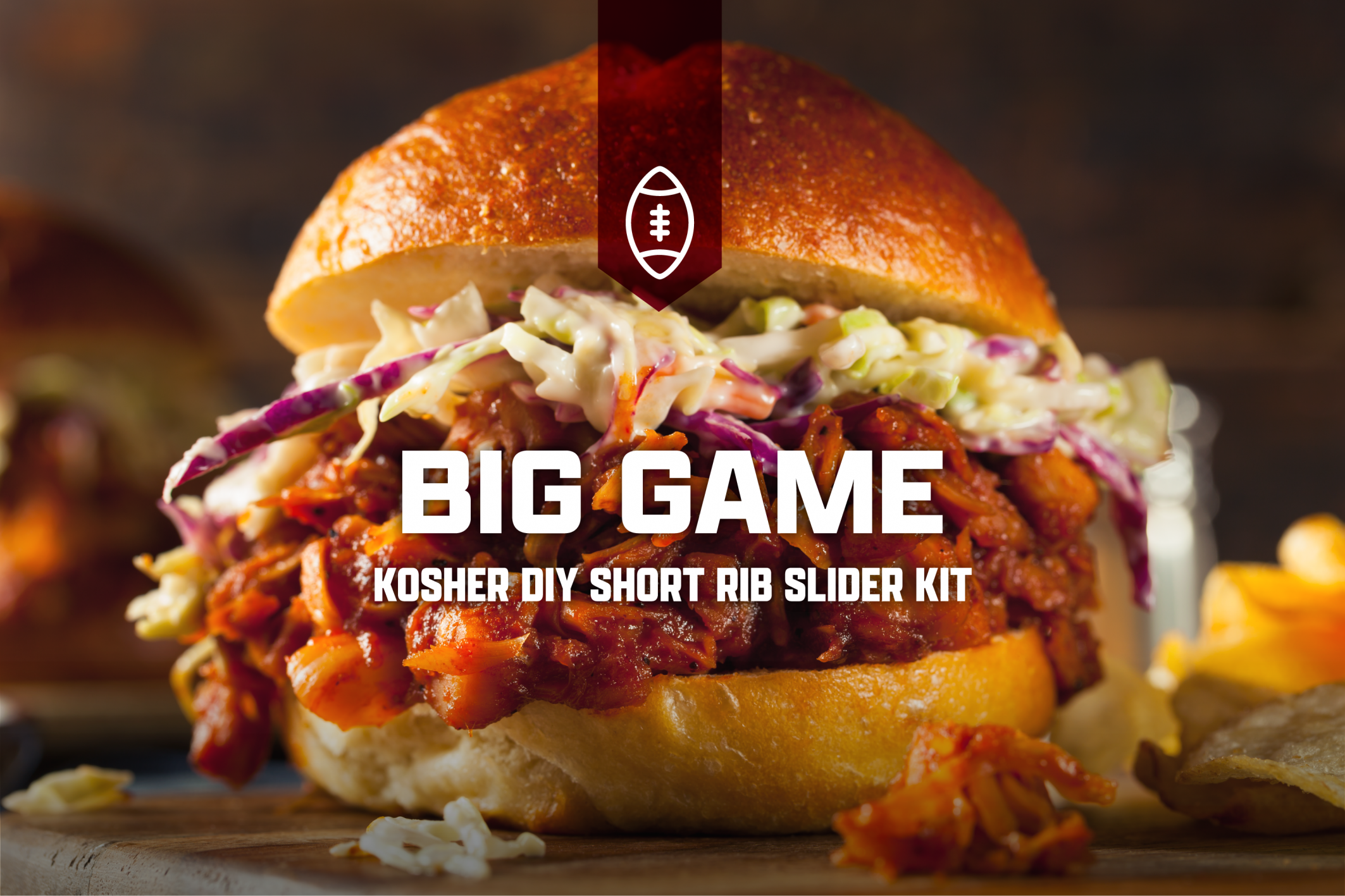 Photo of the kosher short rib slider from the Crystal Plaza's Big Game Day DIY kit