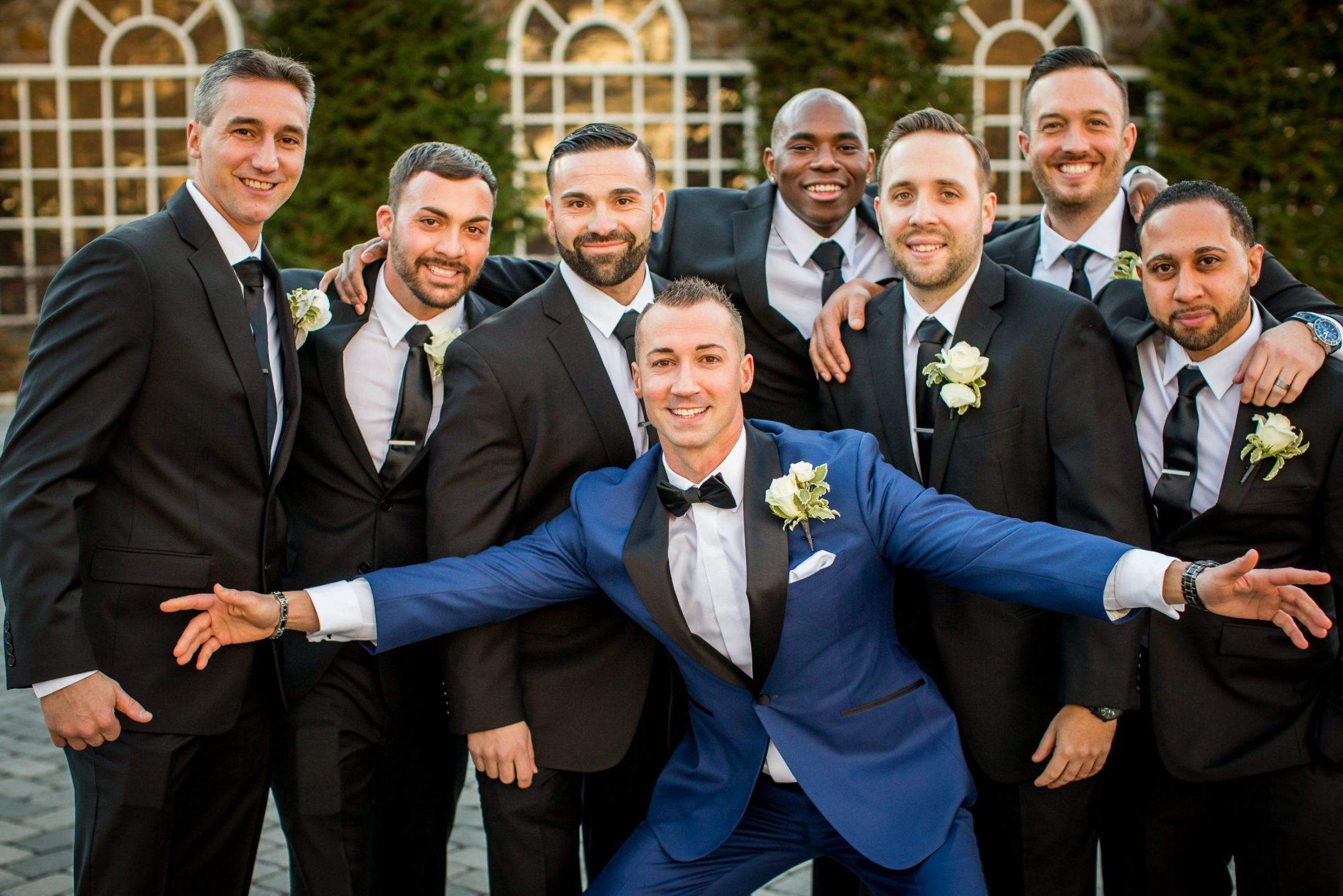 The grooms and groomsmen