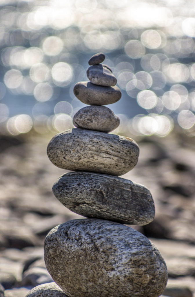 Relaxation stones piled on top of one another