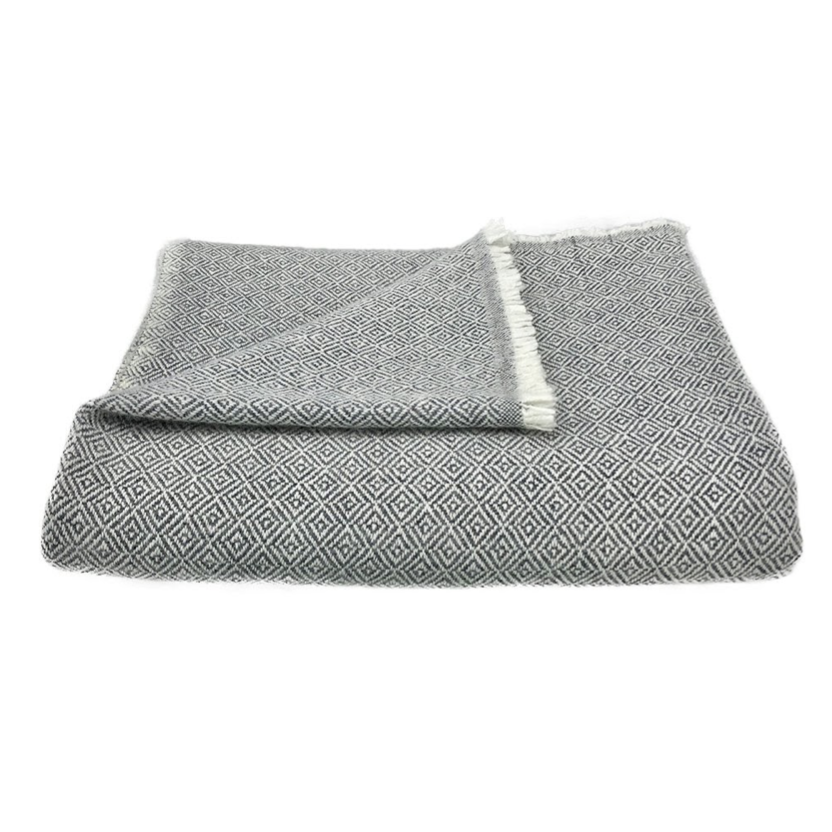 A black and white cashmere throw blanket