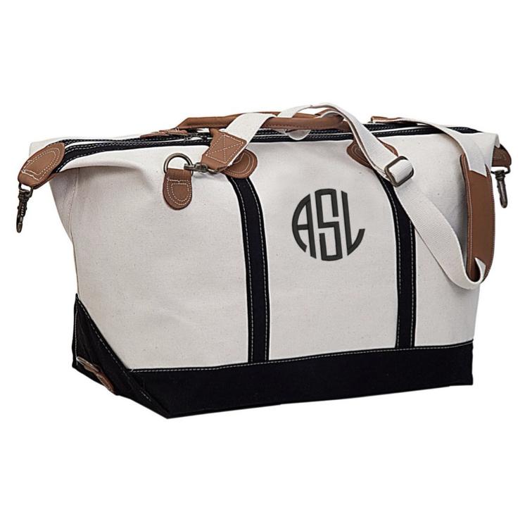A monogrammed weekender bag