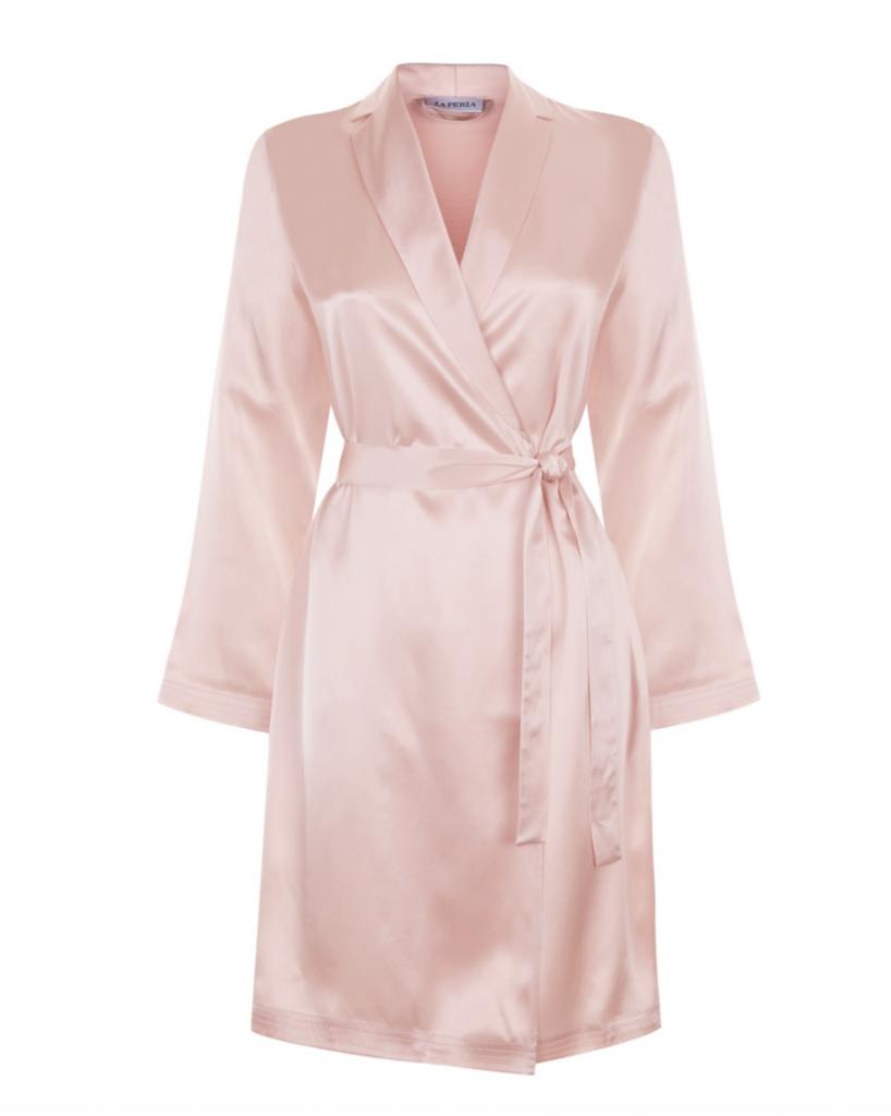 A beautiful pink silk robe from La Perla